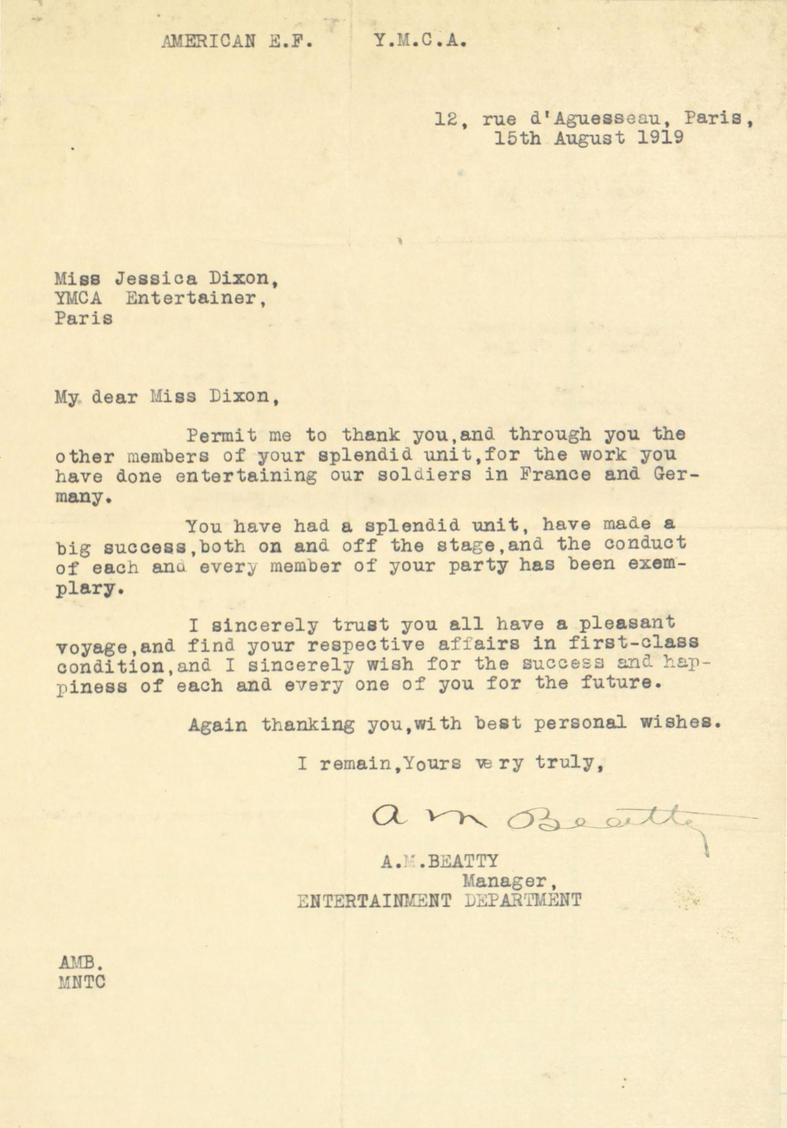 Thank you letter from beatty the american vaudeville archive thank you letter from beatty altavistaventures Image collections